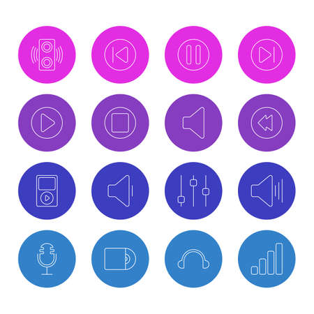 Vector Illustration Of 16 Melody Icons. Editable Pack Of Stabilizer, Lag, Amplifier And Other Elements.