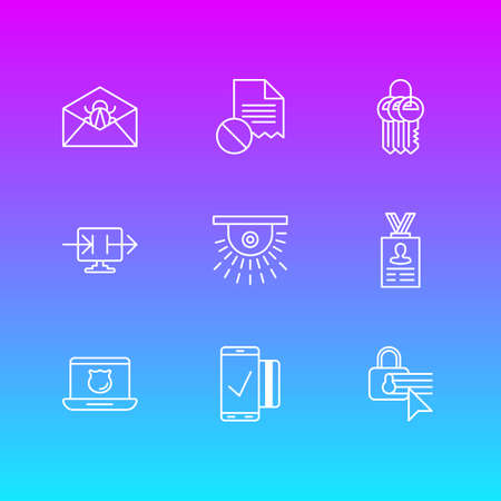 Vector Illustration Of 9 Security Icons. Editable Pack Of Confidentiality Options, Easy Payment, Corrupted Mail And Other Elements.