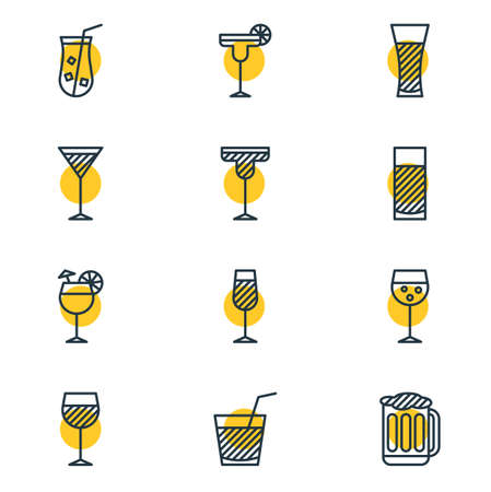 Vector Illustration Of 12 Beverage Icons. Editable Pack Of Wineglass, Margarita, Beverage And Other Elements.