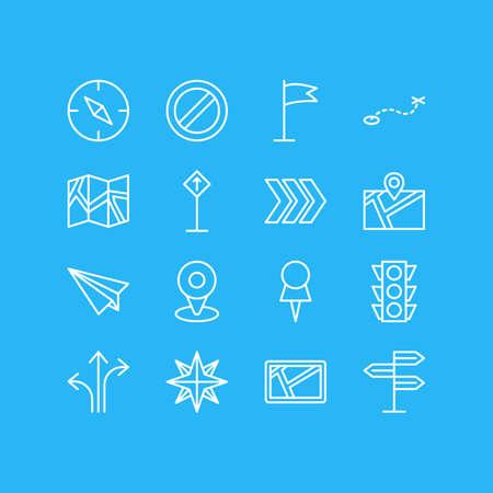 Vector illustratie van 16 navigatie pictogrammen. Bewerkbaar pakket met pad, pin, kompas en andere elementen.