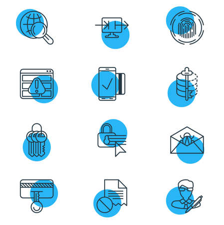 Editable Pack Of Encoder, Browser Warning, Corrupted Mail And Other Elements.  Vector Illustration Of 12 Data Icons. Illustration