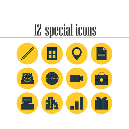 Vector Illustration Of 12 Online Icons. Editable Pack Of Video Camera, Gift, Messages And Other Elements. Illustration