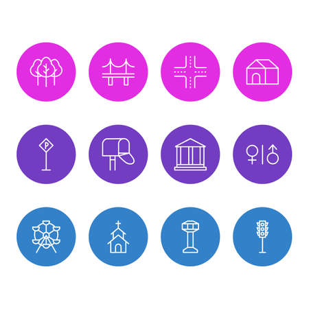 Editable Pack Of Forest, Home, Courthouse And Other Elements.  Vector Illustration Of 12 Public Icons.
