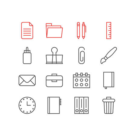 Editable Pack Of Pencil, Copybook, Binder Clip And Other Elements.  Vector Illustration Of 16 Instruments Icons. Illustration