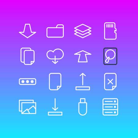 Illustrazione vettoriale di 16 icone di archiviazione. Pacchetto modificabile di Cloud, Downward, Hdd e altri elementi. Archivio Fotografico - 85282473