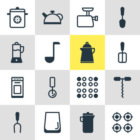 steel plate: Editable Pack Of Fruit Squeezer, Jug, Tea And Other Elements.  Vector Illustration Of 16 Cooking Icons. Illustration
