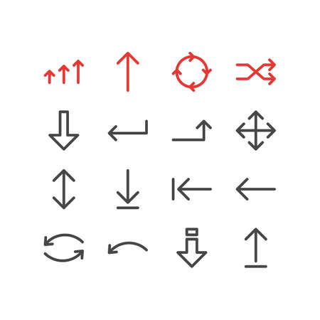 Editable Pack Of Circle, Down, Loading And Other Elements.  Vector Illustration Of 16 Arrows Icons.