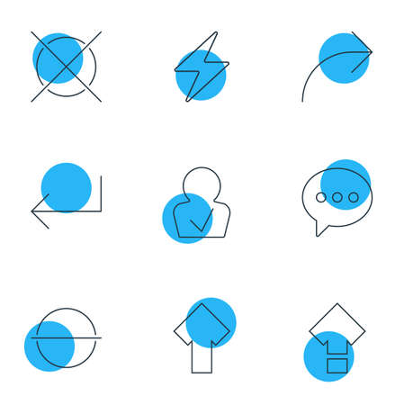 Editable Pack Of Cancel, Displacement, Bolt And Other Elements.  Vector Illustration Of 9 Interface Icons.
