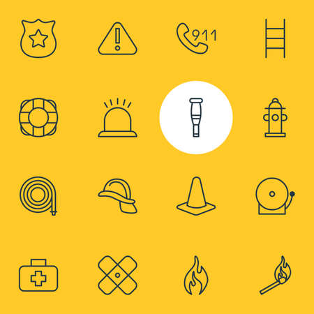 Vector Illustration Of 16 Extra Icons. Editable Pack Of Fire, Hosepipe, Medical Case And Other Elements.
