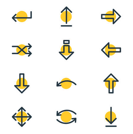 Vector Illustration Of 12 Direction Icons. Editable Pack Of Submit, Down, Turn And Other Elements.