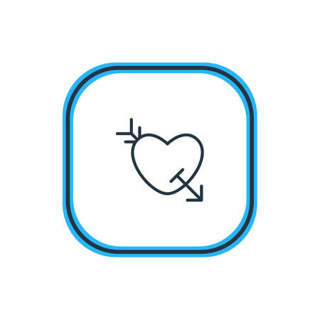 美しい愛の要素はまた、矢印要素として使用することができます。 愛の輪郭のベクトルイラスト。  イラスト・ベクター素材