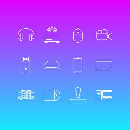 Editable Pack Of Usb Card, Game Controller, PC And Other Elements.  Vector Illustration Of 12 Gadget Icons.