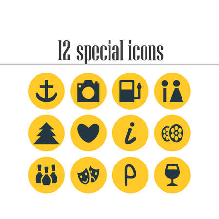 Editable Pack Of Skittles, Refueling, Masks And Other Elements.  Vector Illustration Of 12 Check-In Icons. Illustration