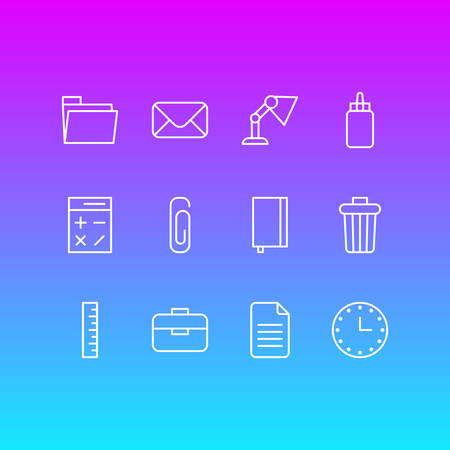Editable Pack Of Paperclip, Copybook, Letter And Other Elements.  Vector Illustration Of 12 Instruments Icons.