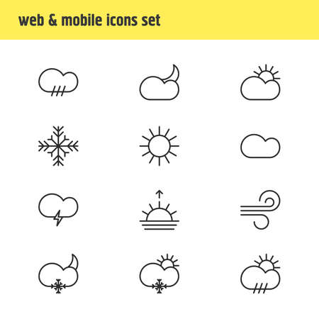 Editable Pack Of Rain, Moon Month, Fulminant And Other Elements.  Vector Illustration Of 12 Sky Icons. Illustration