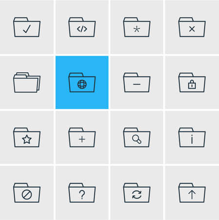 Vector Illustration Of 16 Document Icons. Editable Pack Of Minus, Question, Recovery And Other Elements.