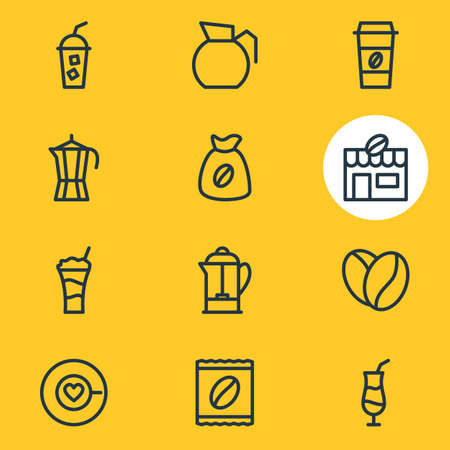 Editable Pack Of Coffee To Go, Soft Beverage, House And Other Elements.  Vector Illustration Of 12 Drink Icons.