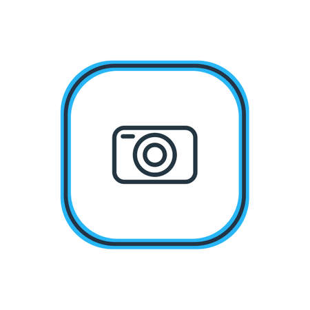 Beautiful Application Element Also Can Be Used As Photo Apparatus Element.  Vector Illustration Of Camera Outline. 向量圖像