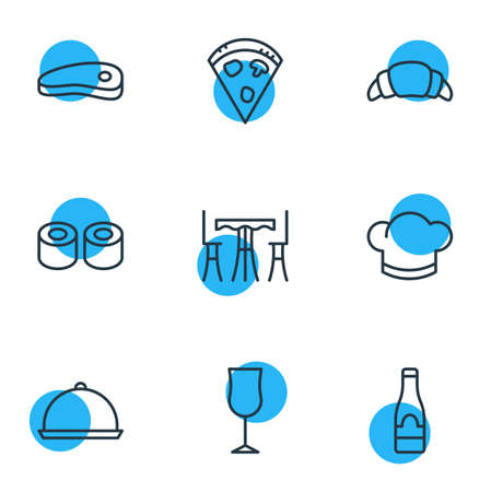 Editable Pack Of Bacon, Alcohol, Japanese Roll And Other Elements.  Vector Illustration Of 9 Restaurant Icons.