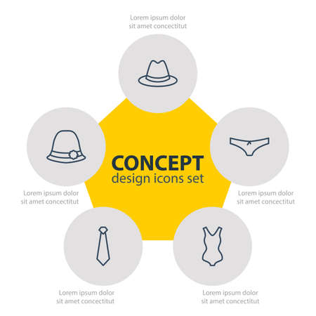 Editable Pack Of Panties, Fedora, Panama And Other Elements.  Vector Illustration Of 5 Dress Icons. Illustration