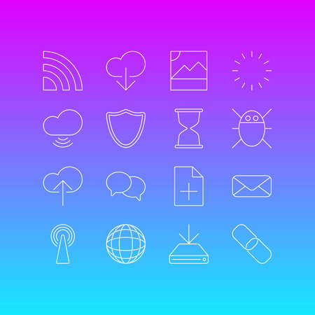 transmit: Editable Pack Of Photo, Wave, Information Load And Other Elements.  Vector Illustration Of 16 Network Icons.