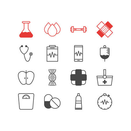 diastolic: Editable Pack Of Antibiotic, Flask, Phone Monitor And Other Elements.  Vector Illustration Of 16 Medical Icons. Illustration