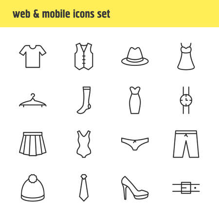 Editable Pack Of Hand Clock, Apparel, Strap Elements.  Vector Illustration Of 16 Dress Icons.