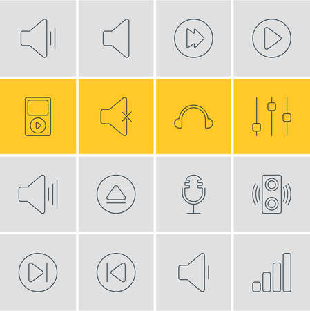 pause button: Vector Illustration Of 16 Melody Icons. Editable Pack Of Acoustic, Rewind, Speaker And Other Elements.