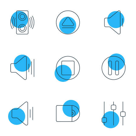 Vector Illustration Of 9 Melody Icons. Editable Pack Of Compact Disk, Rewind, Decrease Sound And Other Elements.