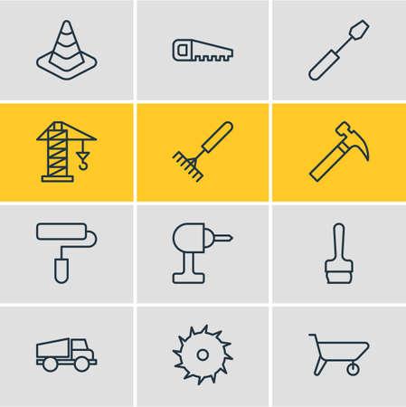 Pack modifiable de vis, scie à métaux, rouleau et autres éléments. Illustration vectorielle de 12 icônes de construction.