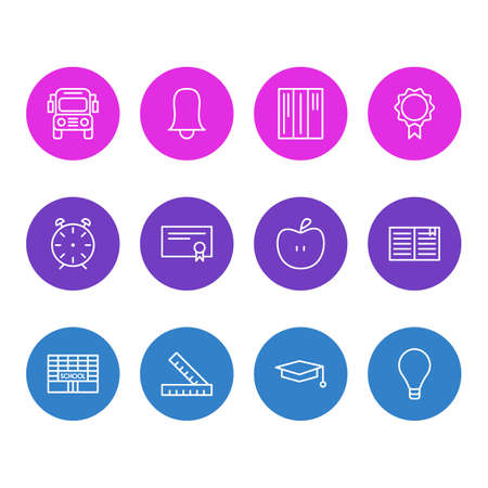 Editable Pack Of Bookshelf, Textbook, Jingle And Other Elements.  Vector Illustration Of 12 Studies Icons.