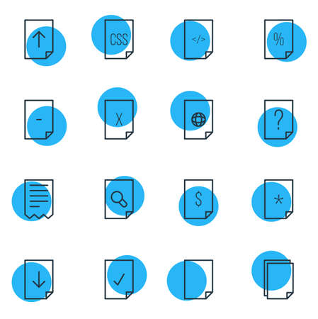 html: Illustration Of 16 Paper Icons. Editable Pack Of Basic, Style, HTML And Other Elements.