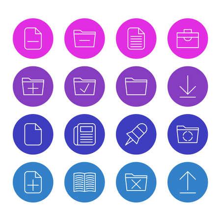 読み込み、インストールおよびその他の要素の追加、編集可能なパック。 16 オフィスのアイコンのベクター イラストです。  イラスト・ベクター素材