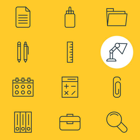 vision repair: Editable Pack Of Meter, Calculate, Archive And Other Elements.  Vector Illustration Of 12 Tools Icons.