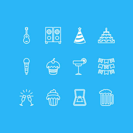 patisserie: Editable Pack Of Muffin, Musical Instrument, Party Flag And Other Elements.  Vector Illustration Of 12 Party Icons. Illustration