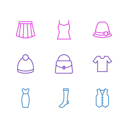 Vector Illustration Of 9 Garment Icons.