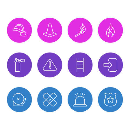 Vector Illustration Of 12 Extra Icons. Editable Pack Of Hardhat, Exclamation, Safety And Other Elements. Illustration