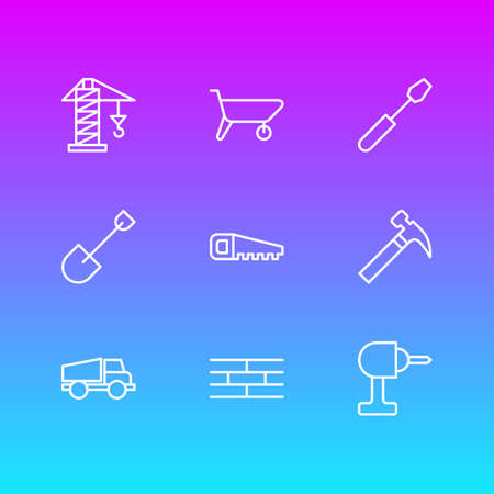 Vector Illustration Of 9 Industry Icons. Editable Pack Of Electric Screwdriver, Handcart, Handle Hit Elements. Illustration