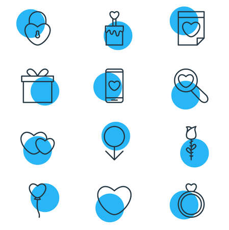 pareja comiendo: Vector Illustration Of 12 Amour Icons. Editable Pack Of Smartphone , Candle , Engagement Elements.