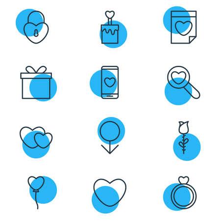 Illustration vectorielle de 12 icônes de l'amour. Pack modifiable de Smartphone, bougie, éléments d'engagement.