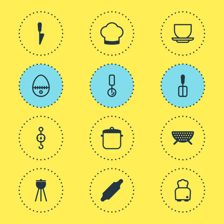 Vector Illustration Of 12 Restaurant Icons. Editable Pack Of Kitchen Dagger, Breakfast, Soup Pan And Other Elements.