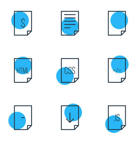 sheet: Vector Illustration Of 9 Page Icons. Editable Pack Of Code, Dollar, Style And Other Elements. Illustration