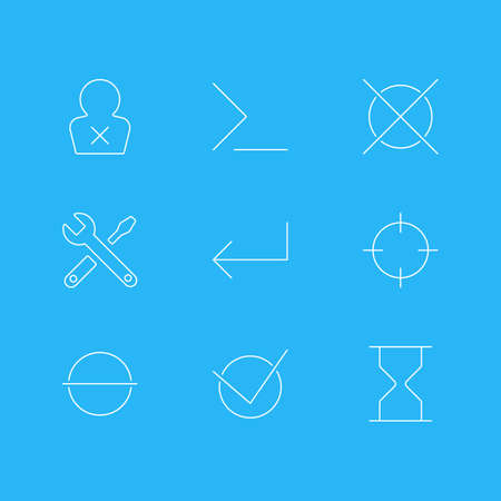 Vector Illustration Of 9 Interface Icons. Editable Pack Of Startup, Accsess, Maintenance And Other Elements.