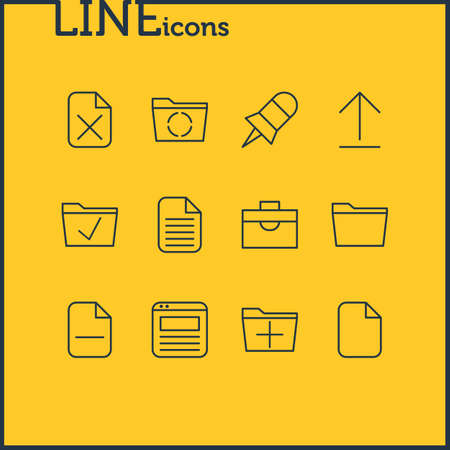 Vector Illustration Of 12 Office Icons. Editable Pack Of Blank, Remove, Minus And Other Elements. Illustration