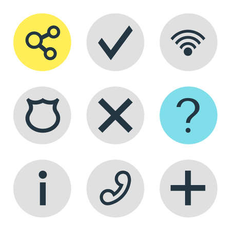 Vector Illustration Of 9 User Icons. Editable Pack Of Handset, Confirm, Wrong Elements.
