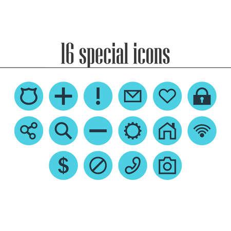 addition: Vector Illustration Of 16 Member Icons. Editable Pack Of Cogwheel, Handset, Access Denied Elements.