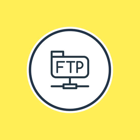Beautiful Network Element Also Can Be Used As Ftp Element.  Vector Illustration Of File Transfer Protocol Outline. Illustration