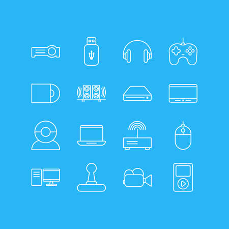 Vector Illustration Of 16 Technology Icons. Editable Pack Of Monitor, PC, Cursor Controller And Other Elements. Illusztráció