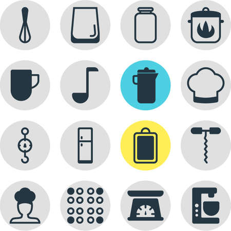 Editable Pack Of Stewpot, Corolla, Soup Spoon And Other Elements.  Vector Illustration Of 16 Cooking Icons. Illustration