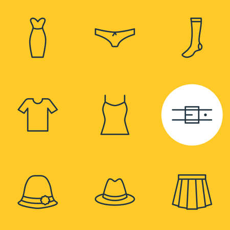 Editable Pack Of Hosiery, Singlet, Panties And Other Elements.  Vector Illustration Of 9 Garment Icons. Illustration